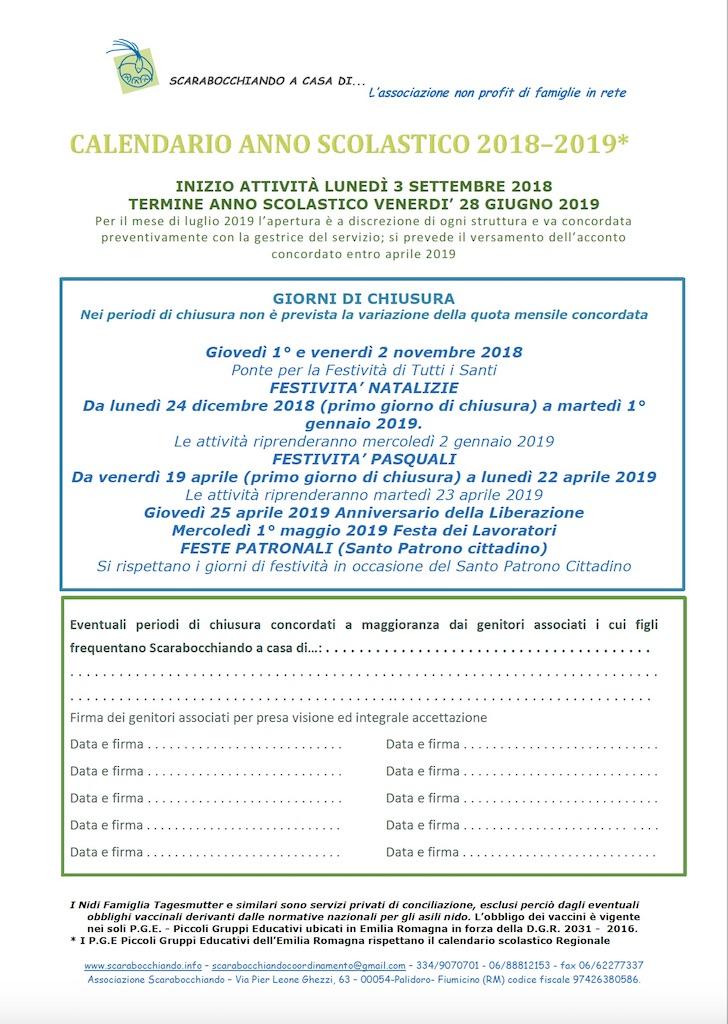 Calendario Scolastico Emilia.Calendario Anno Scolastico 2018 2019 Scarabocchiando